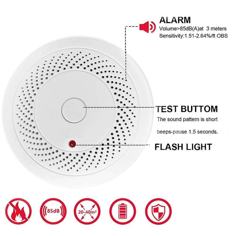 Amazon.com: Paquete de 2 detectores de humo y alarma de ...