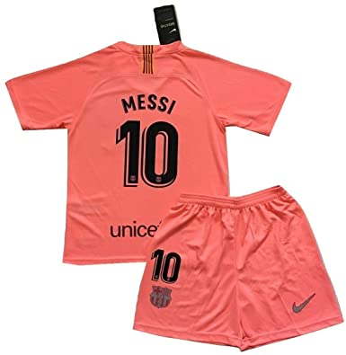 b64a1f227 Messi  10 FC Barcelona 2018 2019 3rd Champions League Jersey and Shorts for  Kids