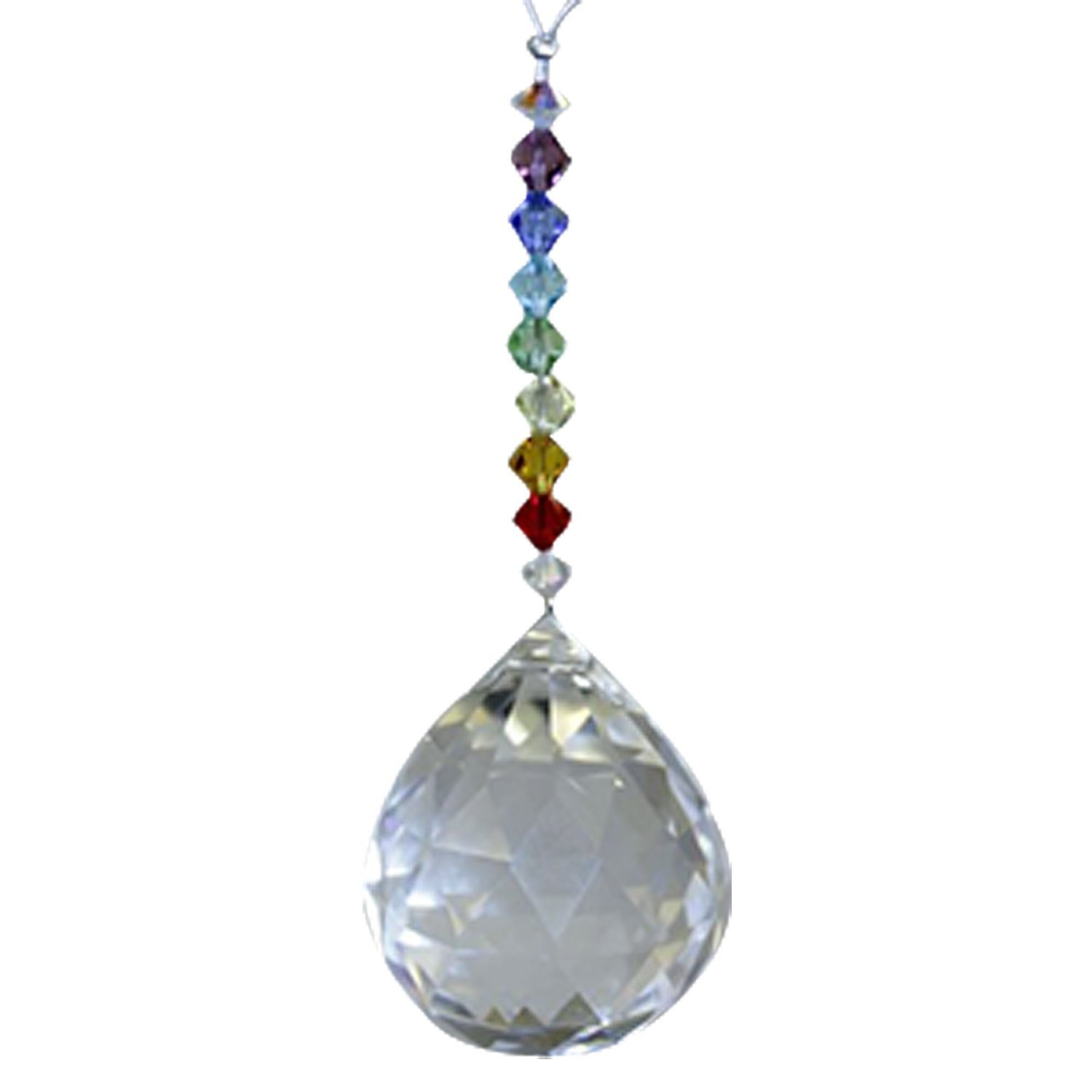 Mini Chakra Rainbow with 30 mm Clear Ball - Rainbow Maker - Crystal Suncatcher - Home, Living Room, Bedroom, Kitchen, Car Decoration - Porch Decor - Sun Catcher - Hangings Crystal Glass Ornament
