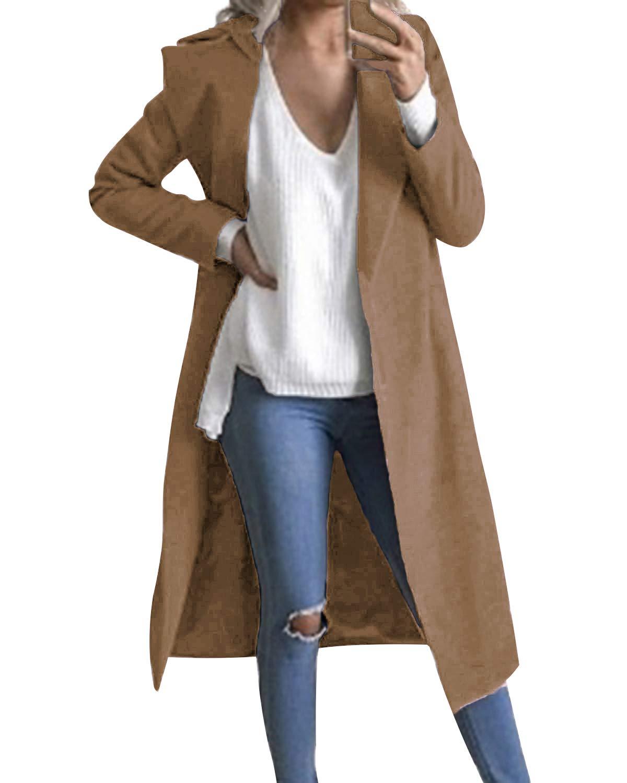 Auxo Women Trench Coat Long Sleeve Pea Coat Lapel Open Front Long Jacket Overcoat Outwear Camel US 6/Asian M by Auxo