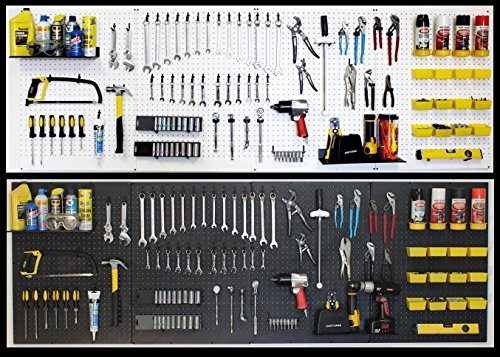 WallPeg pegboard Panels, Shelves, Bins, Locking peg Hooks Garage Storage kit 96 W-B (Black) ()