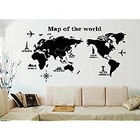 ufengke®Viaggiare In Tutto Il Mondo Mappa del Mondo Adesivi Murali, Camera da Letto Soggiorno Adesivi da Parete Removibili/Stickers Murali/Decorazione Murale, A