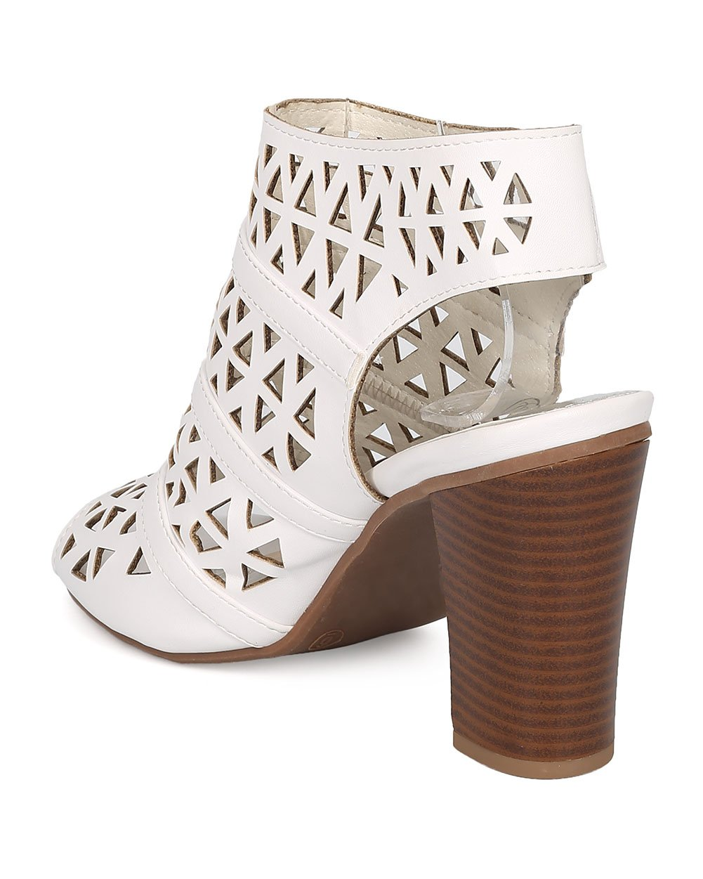 Women Leatherette Peep Toe Perforated Chunky Heel Slingback Mule GG78 - White (Size: 6.5) by Nature Breeze (Image #3)