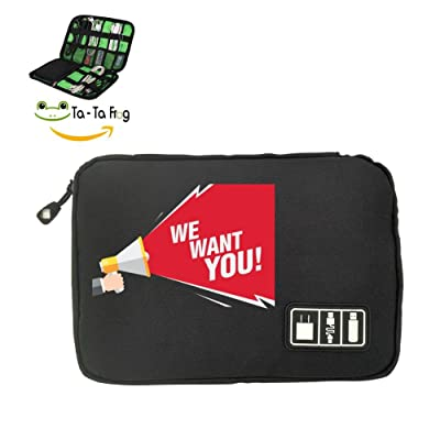 Solid color mood We Want You Fashion Cute Travel Advanced Electronics Accessories Organiser Bag Black