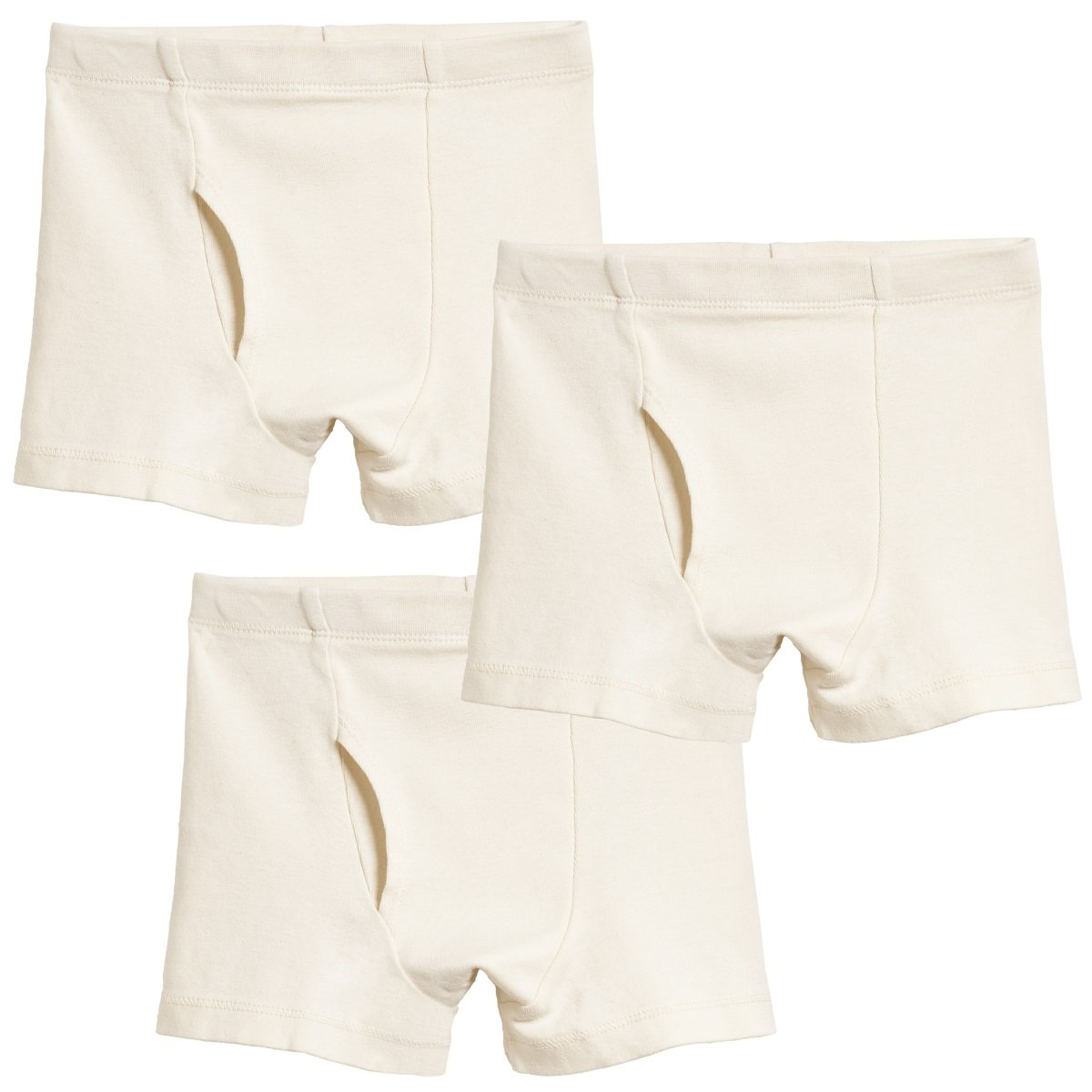 City Threads Little Boys Organic Cotton Boxer Brief for Sensitive Skin and SPD Sensory Friendly Clothing, 3Pack Oatmeal, 6