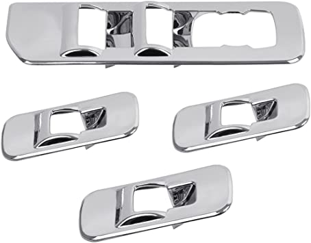 4pcs NEW Chrome Window Lift Switch Panel Cover Trim Kit for 2015-2017 Ford F150
