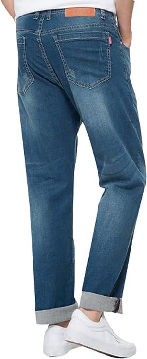 JiaYou All Seasons Classic Ripped Mid Waist Flex Stretch Straight Loose Fit Pants Trousers Denim Jeans Dark Blue Thin,36W X 29L