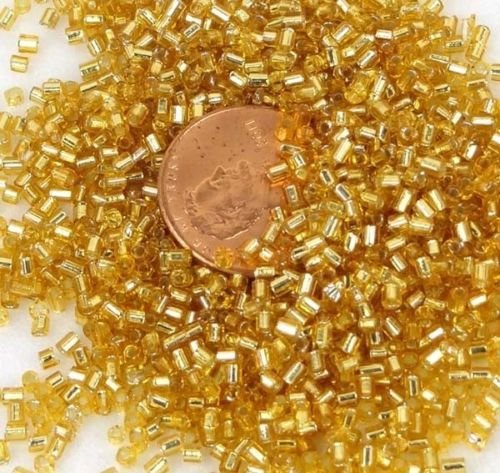24k Gold Lined Crystal - 2mm Japanese Seed Glass Beads 24k Gold Lined Crystal Round Tube 15g