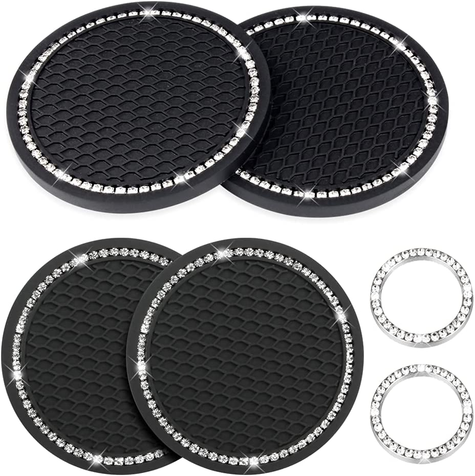 Car Cup Holder Coasters 2.75 Inch, 4 Pack Bling Car Cup Coaster with 2 Pack Bling Emblem Sticker Crystal Ring Start Button, 6 Pack Diamond Car Bling Accessories for Women