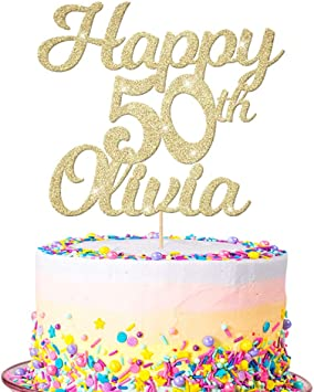 Excellent Edsg Personalised Happy 50Th Birthday Cake Topper Custom Any Personalised Birthday Cards Veneteletsinfo