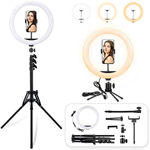 LED Ring Light with Tripod and Desk Stand, 12 inch Dimmable Circle Light Kit, 3 Color Modes and 10 Brightness, USB Powered, Heighten Hose, Phone Holder for iPhone Streaming, Video Recording, Camera