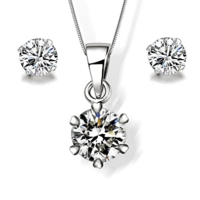 Gilind 925 Sterling Silver Disco Ball Necklace and Earrings Set for Women + Gift Box YXmuEv