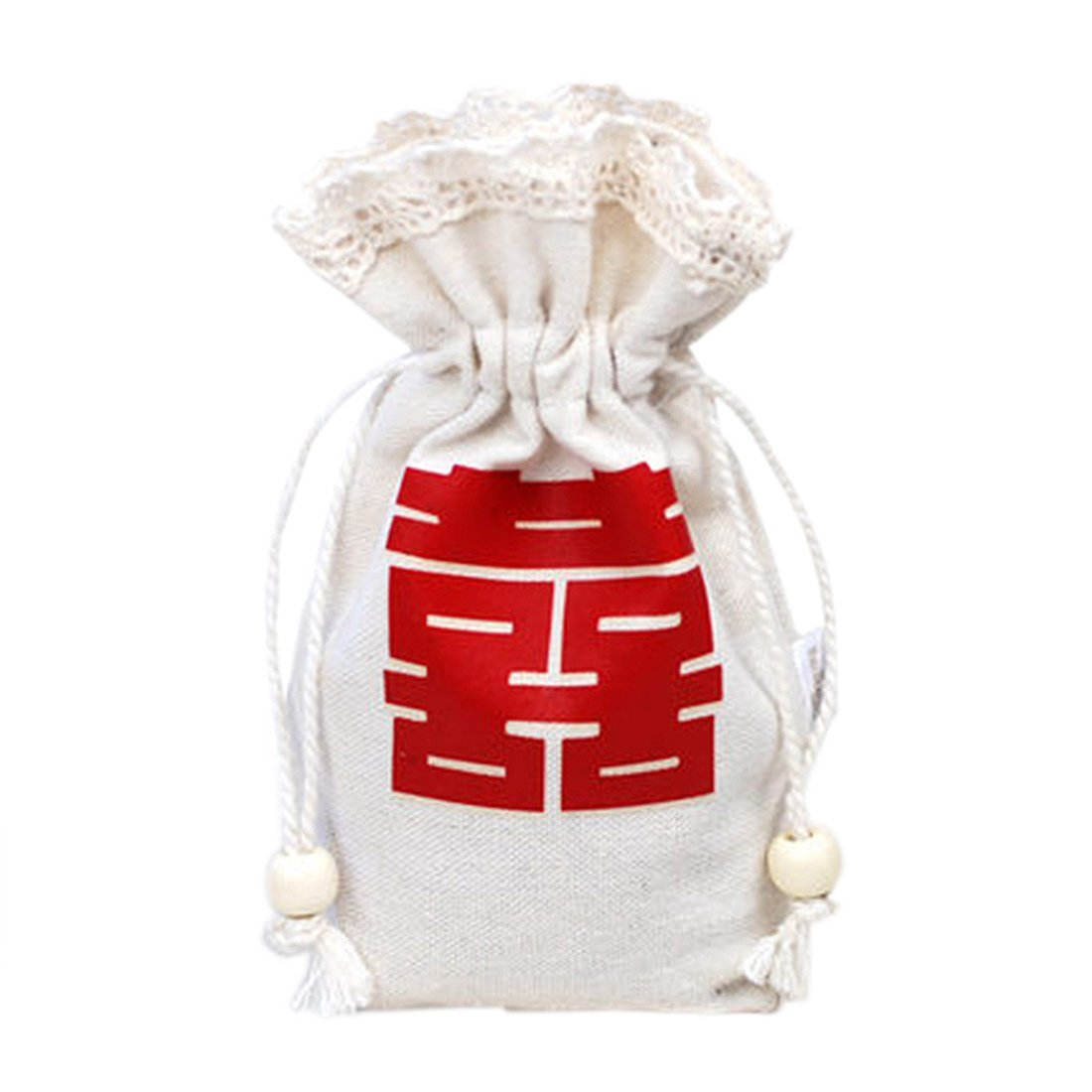 autulet Unique Drawstring Bags Girls Drawstring Bag White Cotton Party Wedding Lace Bags 50Pieces