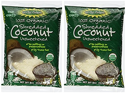 (Let's Do Organic Unsweetened Coconut Shredded, Fine Shred, 8 oz (2 Pack))