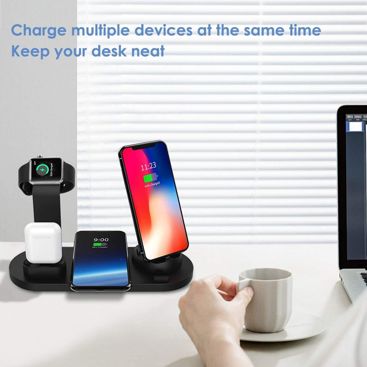 Wireless Charger Station,7.5W Qi Fast Wireless Charging BixMe 4IN1 Wireless Charge Dock Station for iWatch and Airpods,Compatible with iPhone11//11Pro//XSMAX//XR//XS//X//8//8P,Galaxy S10//S9//S9+//S8 and More