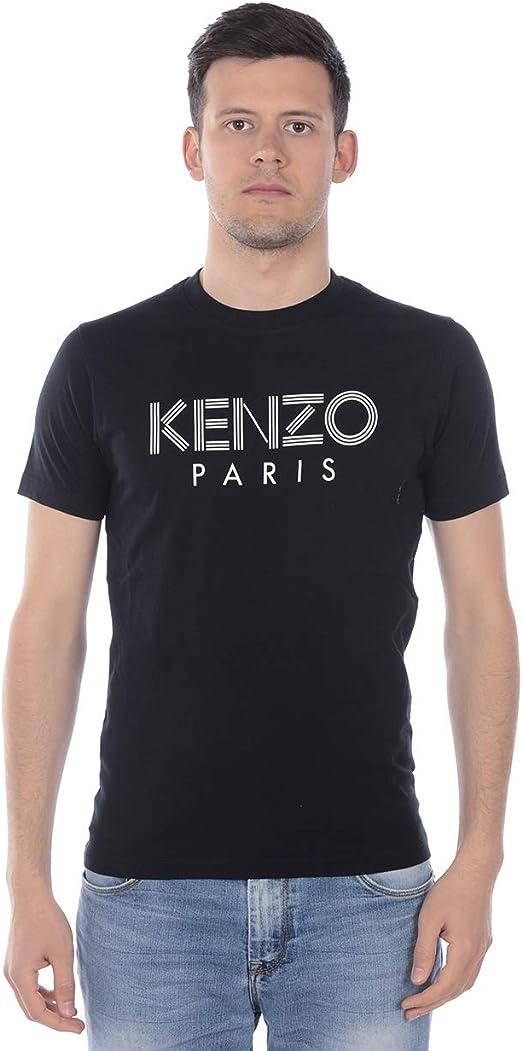 Kenzo Camiseta Paris de algodón Negra con Logotipo Frontal