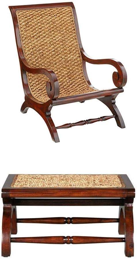 SBritish Plantation Chair & Footstool