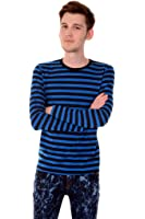 Mens Indie Retro 60's Blue & Black Striped Long Sleeve T Shirt