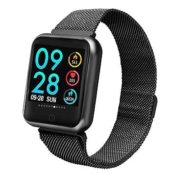 elecfan Reloj Inteligente iPhone 8 Plus, Pulsera Monitor de Actividad Pulsómetro sueño Fitness Bluetooth Tracker de Android Samsung Note9 y iOS,Negro: ...