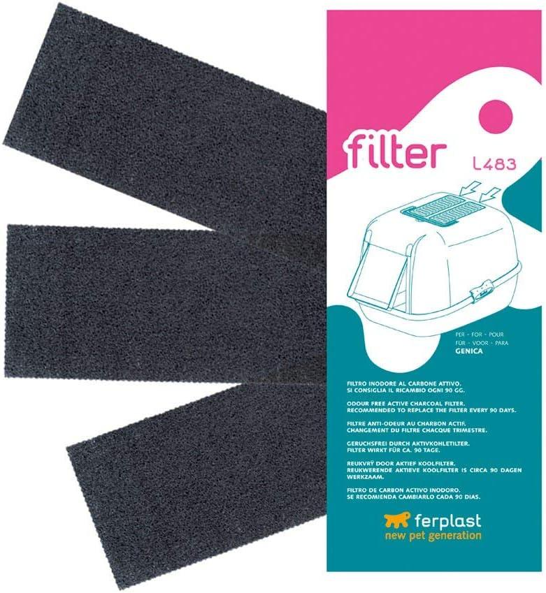 Filtro L483 Kit de filtros de Recambio para Las Cajas de Arena para Gatos GENICA, Filtros de carbón Activo Que neutralizan los olores, Paquete de 3 Unidades, 24 x 10 x h