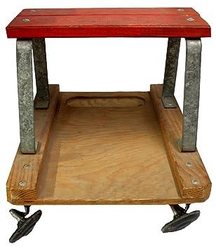 Vintage banco, mecánica taburete, taburete de garaje, carrito, banco de madera, Creeper, pequeña mesa de madera: Amazon.es: Coche y moto