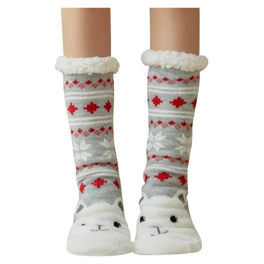 YIHANK Autumn and Winter Fashion Ladies Sock Christmas Women Cotton Socks Print Thicker Anti-slip Floor Socks Carpet Socks