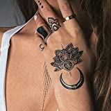 Black Temporary Tattoos - TribeTats Onyx Goddess Collection - Designer Henna Inspired Temporary Tattoos | Black With Gold Metallic Accents - Mandalas, Hamsas, Armbands & More