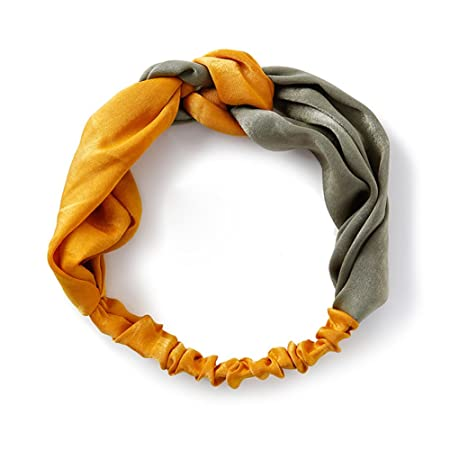 CAOLATOR Venda De Pelo Diadema Accesorios Yoga Diademas de Retro Rayado de Tejido Cruzado Elástica Turbante para Mujeres (Amarillo + Verde)