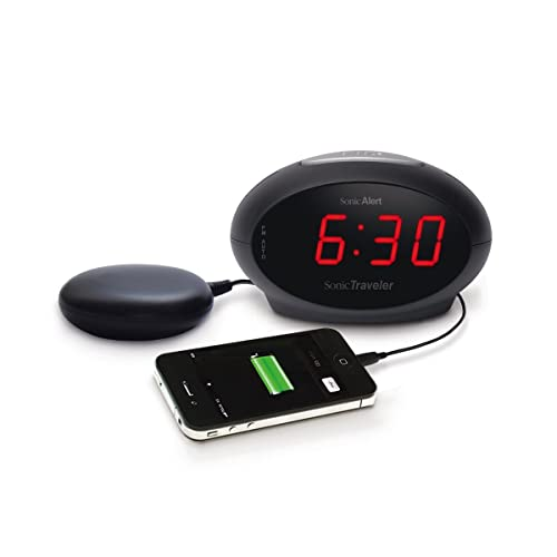 Geemarc SBT600SS- Extra Loud Alarm Clock, USB Charging Socket and Vibrating Bed Shaker- UK Version