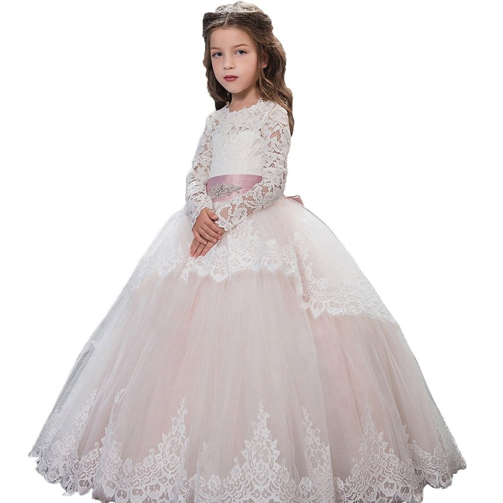 Banfvting Lace Long Sleeves First Communication Dress Kids Birthday Gown With Sash by Banfvting (Image #1)