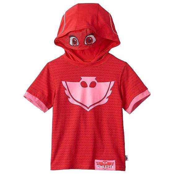 PJ Mask Girls Tee Owlette Hoodie (Pink Short Sleeve, ...
