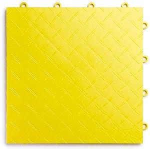 RaceDeck Diamond Plate Design, Durable Interlocking Modular Garage Flooring Tile (24 Pack), Yellow