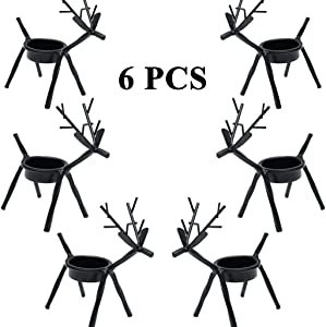 6pcs Reindeer Tealight Candle Holders, Holiday Metal Candlestick Black Tea Light Stands, Christmas Decoration for Home, Table, Fireplace, Window for Thanksgiving, Halloween, Christmas, New Year Party