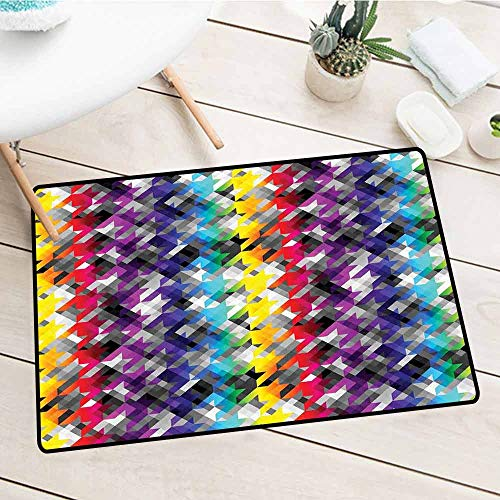 NineHuiTechnology Durable Door Mat, Colorful, Diagonal Geometrical Houndstooth Pattern in Rainbow Colors on Gray Background, Multicolor, 18