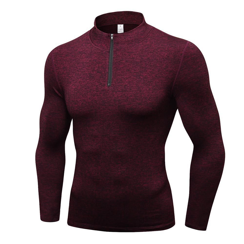 Luxsea Men's Compression Sweatshirt Baselayer Sport Training T-Shirt Long Sleeve Quick Dry Cashmere Tops LUX-CFMXD1478