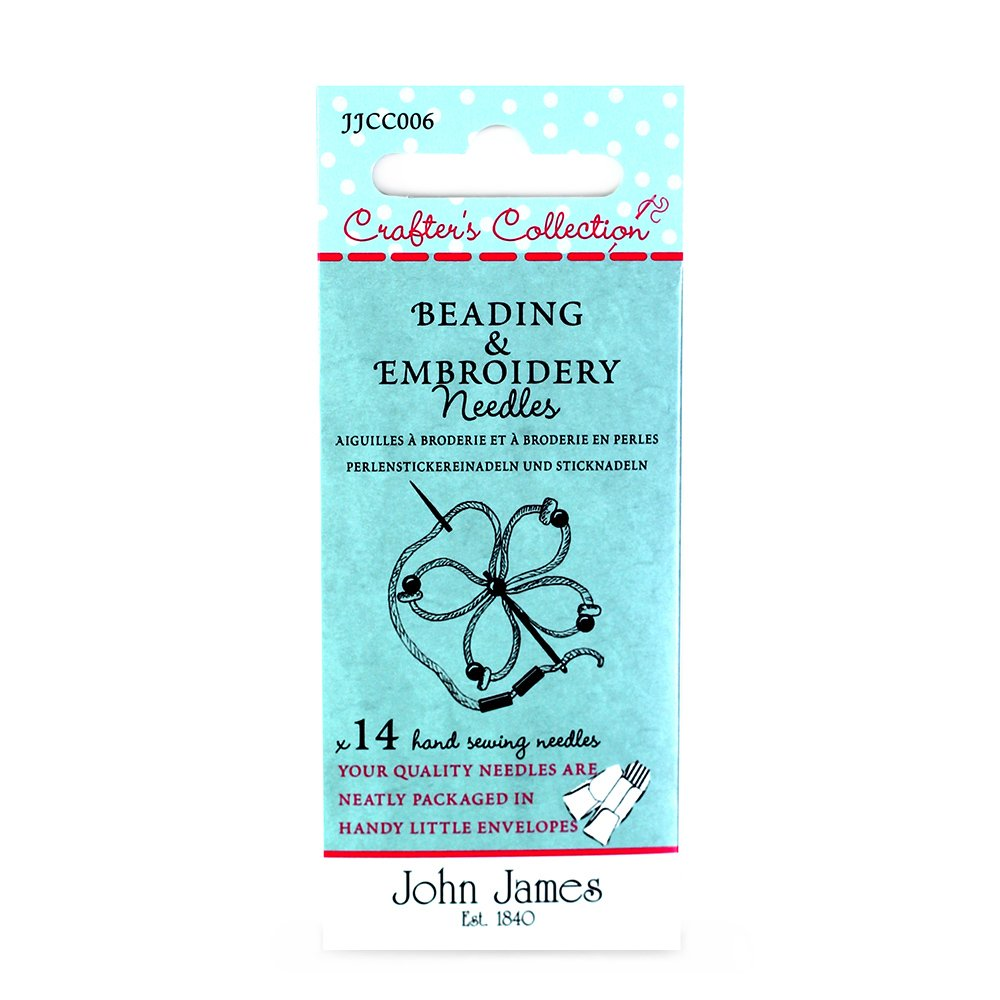 John James Crafters Collection Beading and Embroidery Needles x14 Sizes: 5 7 10