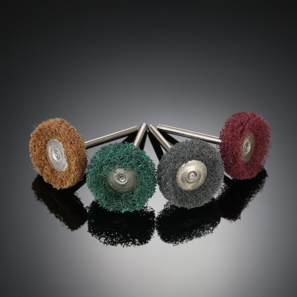 12 Pieza Rueda Abrasiva para Taladro Mini,Rueda de Pulido Cepillo Fregado Almohadilla Nylon/Fibra Molienda Lijado/Cabeza Pulido Conjunto-80//150//240//300 Grit