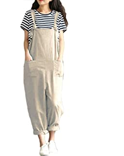 b90fcfd8f17b ZANZEA Women s Retro Loose Casual Baggy Sleeveless Overall Long Jumpsuit  Playsuit Trousers Pants Dungarees
