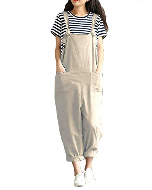 836ac0a830d ZANZEA StyleDome Women s Retro Loose Casual Baggy Sleeveless Overall Long  Jumpsuit Playsuit Trousers Pants Dungarees Beige