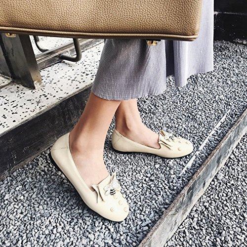 Der frühe Frühling sweet Bow Tie-Größe Perle Mädchen Mädchen Perle flachen Mund einzelne Schuhe MeterWeiß 290e69