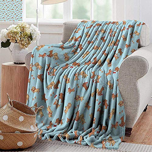 (Camping Blanket,Dog,Checkered Square Pattern Background Playful Puppies Paw Print Golden Retriever Breed,Multicolor,Flannel Blankets Made with Plush Microfiber 30