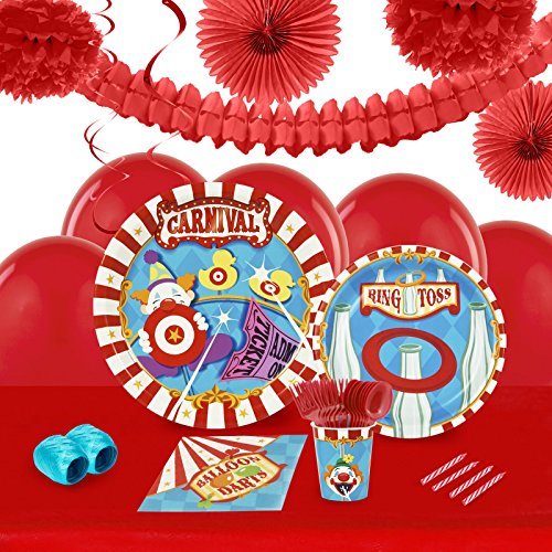 Carnival Games Party Supplies - Tableware and Decoration Party Pack for 16 (Elephant Tamer Costume)