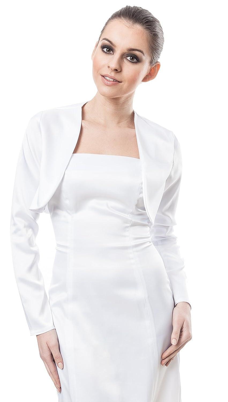 Various Sizes-P3 NEW White Ivory Satin Bolero Shrug Wedding Jacket 3//4 Sleeve