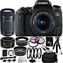 Canon EOS 760D/T6s DSLR Camera with EF-S 18-55mm f/3.5-5.6 IS STM Lens + Canon EF-S 55-250mm F4-5.6 IS STM Lens + Canon EF 50mm f/1.8 II Lens 32GB Bundle 15PC Accessory Kit. Includes 32GB Memory Card + 3PC Filter Kit (UV-CPL-FLD) + MORE