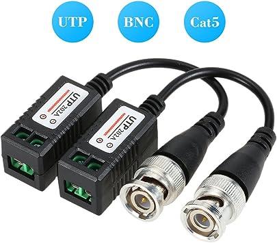 KKmoon Video Balun BNC Conector,Cat5 UTP Adaptador,de Cable Coaxial Transmisión de Par Trenzado Para Cámara CCTV-2pcs: Amazon.es: Bricolaje y herramientas
