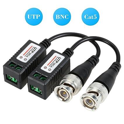 KKmoon Video Balun BNC Conector,Cat5 UTP Adaptador,de Cable Coaxial Transmisión de Par