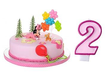 Tortendeko Set 2 Geburtstag Minnie Mouse Baby 6 Teiligtortenaufleger