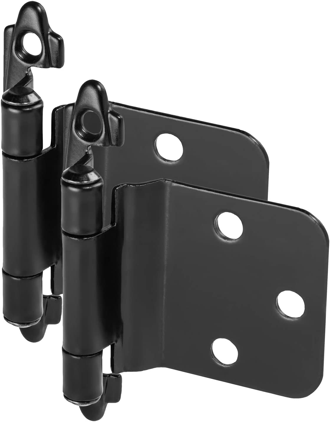 10 Pair Pack - Cosmas 16890-FB Flat Black Cabinet Hinge Variable Overlay with 30 Degree Reverse Bevel (Pair) [16890-FB]