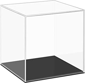 Cliselda Clear Acrylic Display Case with Black Base, Countertop Box Cube Organizer Stand Riser Dustproof Protection Showcase for Action Figures Toys Collectibles (5x5x5 Inch)