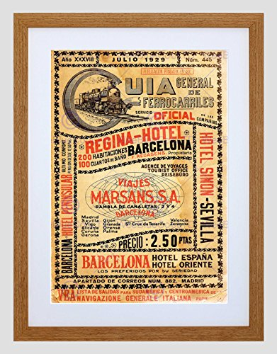 The Art Stop Travel Antique Spanish Rail TIMETABLE Steam Engine Spain Framed Print B12X8005 (Travel Timetable Rail)